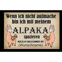 Crealuxe Fussmatte - Herzlich Willkommen Wunschname - Wenn ich Nicht aufmache - Alpaka - Fussmatte Bedruckt Türmatte Innenmatte Schmutzmatte lustige Motivfussmatte