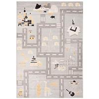 Carpeto Rugs Straßen Kinderzimmerteppich - Kurzflor Spielteppich - Weich Teppich für Kinderzimmer - Kinderteppich - ÖKO-TEX Wohnzimmerteppich - Teppiche - Grau - 120 x 170 cm