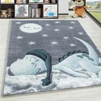 HomebyHome Kurzflor Kinderteppich Dino Wolke Kinderzimmer Babyzimmer Teppich Soft Grau Blau Farbe:Blau Grösse:160 cm Rund