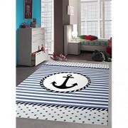 Kinderteppich Maritim Kinderzimmerteppich Jungen Teppich mit Anker in Blau Creme Größe 120x170 cm