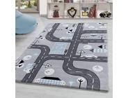 Kinderzimmer Teppich » Rio « Kinderzimmerteppich Spielteppich Straßenteppich GRAU Grösse:80x150 cm Farbe:Silber