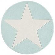 Livone Hochwertiger Kinderteppich Jugendzimmer Kinderzimmer Stern Mint Weiss Grösse 133 cm rund