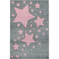 Livone Hochwertiger Kinderteppich Kinderzimmer Babyteppich mit Sternen Punkte in Silber grau rosa Größe 100x 150 cm