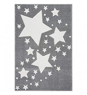Livone Hochwertiger Kinderteppich Kinderzimmer Babyteppich mit Sternen Punkte in Silber grau Weiss Größe 100 x 150 cm