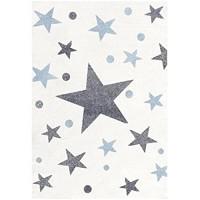 Livone Pflegeleichter Kinderteppich Baby Teppich Kinderzimmer Sterne Punkte in Creme Silber grau blau Grösse 120 x 180 cm