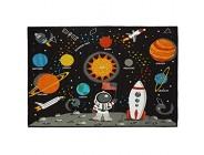 Relaxdays Weltall Teppich 150x100 cm Kinderteppich Kurzflor Anti Rutsch Beschichtung Sonne und Planeten bunt 1 Stück