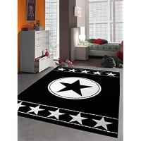 Traum Kinderteppich Spielteppich Kinderzimmer Teppich Sternteppich Sterne Schwarz Creme 80x150 cm