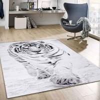 VIMODA Teppich Schnee Tiger Katze Weiß Wild Modern Maße:200x290 cm