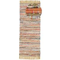 CarpetFine Flachgewebeteppich Kelim Chindi Läufer Gelb 75x240 cm   Moderner Teppich für Wohn- und Schlafzimmer