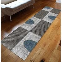 GJIF Läufer Teppich Flur Modern Geometrisch Korridor Teppich Für Küche Wohnzimmer Schlafzimmer Rutschfester Breite 60cm / 80cm / 100cm / 120cmSize:120x650cm