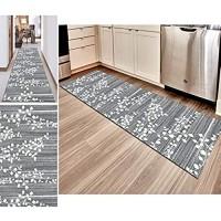 Hciszl Teppich Läufer Flur Grau 60x300cm Nach Maß rutschfest Waschbar Küche Modernes 3D-Druckmuster Goldener Diamantfloren Teppich