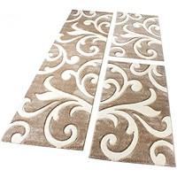 Paco Home Bettumrandung Läufer Teppich Modern Ranken Muster Beige Creme Läuferset 3 TLG Grösse:2mal 60x110 1mal 80x300