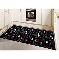 Teppich Küche Läufer Küchenteppich waschbar mit Schriftzug Coffee in schwarz Größe 67x180 cm