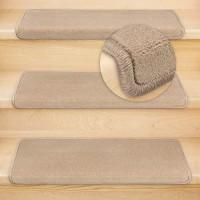 Kettelservice-Metzker® Stufenmatten Vorwerk Uni Einzeln und Sparset's Hellbraun 18 Stück Rechteckig