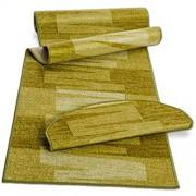 Stufenmatte mit Pinselstrich Muster   Grün   Qualitätsprodukt aus Deutschland   GUT Siegel   kombinierbar mit Läufer   65x23 5 cm   halbrund   einzelne Matte