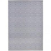 bougari In- und Outdoor Teppich Raute Blau Creme 200x290 cm