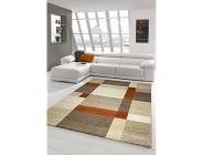 Designer Teppich Moderner Teppich Wohnzimmer Teppich Kurzflor Teppich Barock Design Meliert Braun Beige Terrakotta Größe 160x230 cm