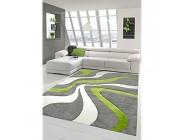 Designer Teppich Moderner Teppich Wohnzimmer Teppich Kurzflor Teppich mit Konturenschnitt Wellenmuster Grün Grau Weiss Größe 60x110 cm