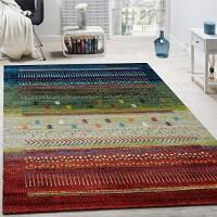 Paco Home Designer Teppich Gabbeh Loribaft Bordüre Nomaden Multicolor Rot Creme Grün Blau Grösse:160x230 cm