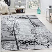 Paco Home Designer Teppich Modern Meliert Floral mit Mäander Muster Kreise Grau Schwarz Grösse:240x340 cm