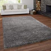 Paco Home Teppich Wohnzimmer Shaggy Hochflor Waschbar Einfarbiges Design Grösse:120x160 cm Farbe:Grau