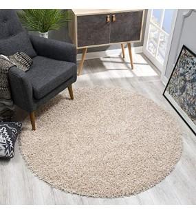 SANAT Teppich Rund - Beige Hochflor Langflor Modern Teppiche fürs Wohnzimmer Schlafzimmer Esszimmer oder Kinderzimmer Größe: 120x120 cm