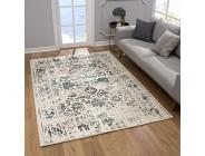 SANAT Teppich Vintage - Modern Teppiche für Wohnzimmer Kurzflor Teppich in Blau-Creme Öko-Tex 100 Zertifiziert Größe: 200x290 cm