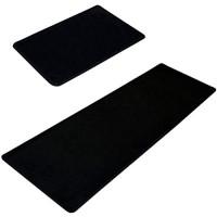 Kong EU Waschbar Rutschfeste Badematte Küche Teppich abosrbent Fußmatten Bereich Teppich Bay Fenster Teppiche antibakteriell Schmutzfangmatten 2 Stück Schwarz 50x80cm+50x160cm