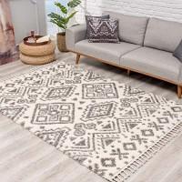 Teppich Hochflor Wohnzimmer - Ethno Geo Design 120x160 cm Creme Grau - Teppiche mit Fransen