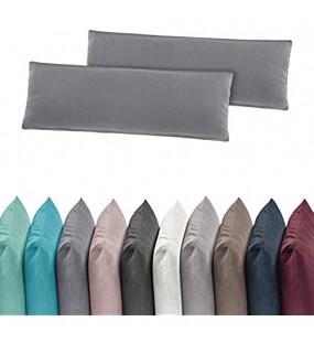 2er Pack Jersey Kissenbezug Kissenhülle Kissenbezüge 40x80 cm 100% Baumwolle Grau
