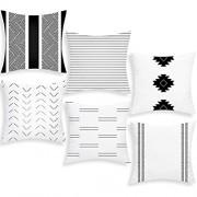 Alishomtll Kissenbezug Outdoor Kissenhülle Zierkissenbezüge Dekorative Wurfkissenbezug 6er Set für Couch Zimmer Polyester 45 x 45 cm Weiß