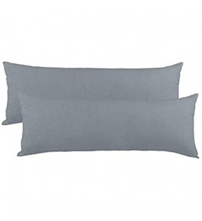 CelinaTex BeNature Kissenbezug Doppelpack 40 x 200 cm XXL dunkel grau Baumwolle Seitenschläferkissen Bezug Jersey