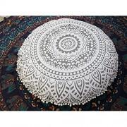 Dekorativer Kissenbezug von Traditional Jaipur runder Sitzkissenüberwurf mit Mandala-Motiv 80 cm groß silber