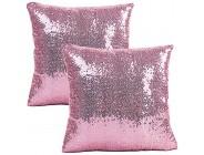 JOTOM Glitter Decorative Kissenbezug Sommer Dekokissen Sofakissen Bezug Modern Kissenhülle für Sofa Outdoor 40x40cm 2er Set Pailletten Rosa