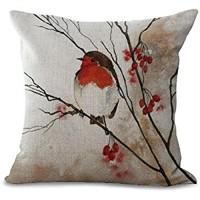 Kissenbezug aus Baumwolle und Leinen mit Blumen und Vogel-Motiven und verschiedenen Farben 45 7x 45 7cm toller Deko-Artikel für Sofa oder Bett MY-A1107–01 #03