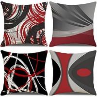 LAXEUYO 4er Set Kissenbezug 45x45 cm Abstrakte rote Streifen Kissenhülle Dekorative Baumwolle Leinen Dekokissen mit Verstecktem Reißverschluss Sofa Schlafzimmer Auto