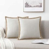 NordECO HOME 2er dekorative Kissenbezüge Sackleinen Leinen getrimmte Kanten Decor Kissenbezug für Schlafzimmer Couch 45x45 cm weiß