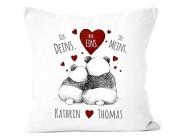 SpecialMe® Kissen-Bezug Ich Deins Du Meins Wir Eins. Panda-Bär anpassbar mit Namen personalisierte Liebesgeschenke weiß Unisize