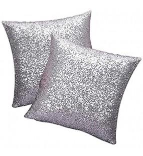 SwirlColor Pailletten Kissen Glitzer Pailletten Platz Werfen Silber Kissenbezug 40 x 40 cm für Zuhause Sofa 2 stücke