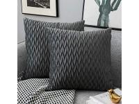 Yamonic Kissenbezüge Set Samt Soft Solid Dekorative Kissen Fall für Sofa Schlafzimmer 50cmx50cm 2er Pack für Couch Bett Sofa Stuhl Schlafzimmer Wohnzimmer Grau
