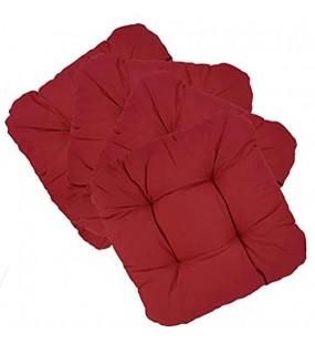 DILUMA Stuhlkissen 40x40 cm Capri 4er Set 8cm Rot - Gepolsteres Sitzkissen für Drinnen und Draußen - Kissen Auflage für Stühle und Bänke - Stuhlauflage mit ÖkoTex100
