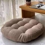 MINYU Rund Sitzkissen Japanischer Stil Tatami Verdicken Weich Bequem Stuhlkissen für Wohnzimmer Catering Computerstuhl-Durchmesser:45cm18Zoll dick:10cm-Hell beige
