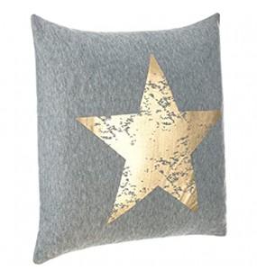 Brandsseller Dekokissen Zierkissen Couchkissen Sofakissen Motivkissen Sterndruck - mit Füllung kuschelig und weich - Größe: 45x45 cm - Grau/Gold