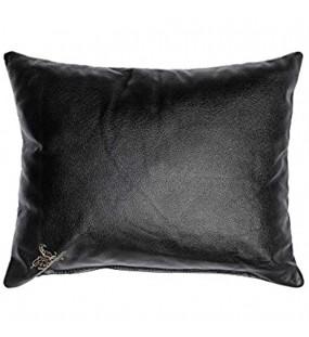 CENTAUR - Deko Lederkissen 50 x 40 cm für Sofa oder Schlafzimmer schwarz - Echt Leder Kissen Echtleder Sofakissen Lederoptik