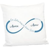 Geschenke 24: Kissen - Unendlichkeit mit Personalisierung Blau - personalisiertes Kuschelkissen - Romantisches Zierkissen mit Namen und Datum