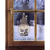 DEMASol Fensterbild WALDWICHTEL HxB 30 x 15 cm Kobold aus echter Plauener Spitze Winter- & Weihnachtsdeko inkl. Saughaken