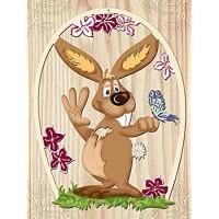Fensterbild Ostern Frühling - Fröhlicher Hase - beidseitig coloriert - Holz ca. 23cm