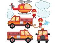 Fenstersticker Fensterfolie Fensterbild Feuerwehr-Set mit Fahrzeugen 40 x 40cm