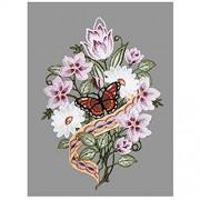 Gesticktes Fensterbild Kirschblütenstrauß hochwertige Fensterdekoration aus echter Plauener Spitze