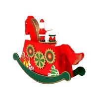 Weihnachten Schaukel Pferd Musik Box Dekorationen Weihnachten Kreative Holz Handwerk Decor für Weihnachten Urlaub Hause Ornament Musikboxen